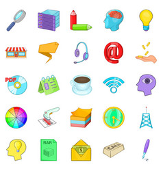Income icons set cartoon style vector