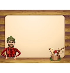 An empty wooden frame template with a lumberjack vector