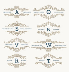Classic wedding retro logo set vector