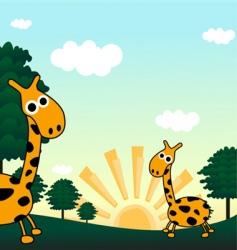 giraffe in a jungle vector image