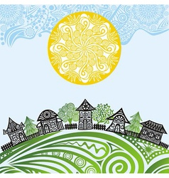 Nature pattern background sun houses vector image
