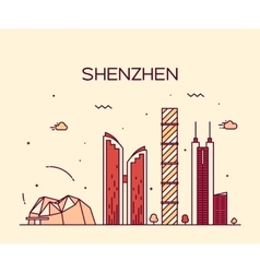 Shenzhen skyline trendy linear vector