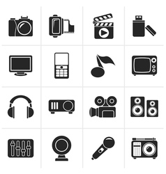Black multimedia and technology icons vector