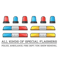Special flashers of emergency dept department vector