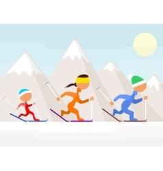 Family on ski vector