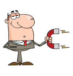 Businessman using a magnet to attracts money vector