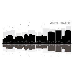 anchorage city skyline black and white silhouette vector image vector image