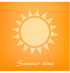 beautiful orange background with sun icon vector image vector image
