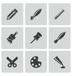 black art tool icons set vector image vector image