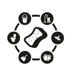 black cleaning icon set vector image