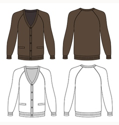 Blank long sleeve brown raglan cardigan vector