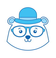 Blue icon vintage bear face cartoon vector