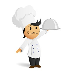 cartoon chef in white hat with dish vector image vector image