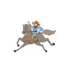 Cowboy riding horse waving cartoon vector