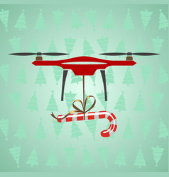 Drone delivery candy modern delivery of gifts for vector