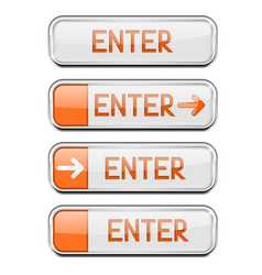 enter button with chrome frame white and orange vector image vector image