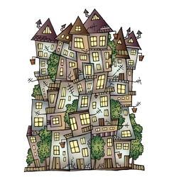 Fantasy fairy-tale drawing town vector