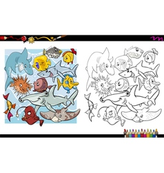 fish characters coloring book vector image vector image