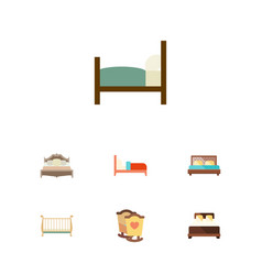 Flat set of bedroom bed hostel and other vector