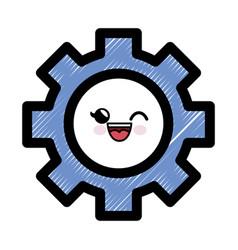 Gear cartoon smiley vector