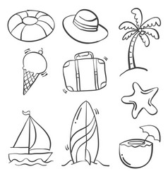 hand draw object summer doodles vector image vector image