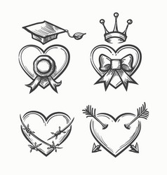 Hand drawn hearts in tattoo sketch style heart vector