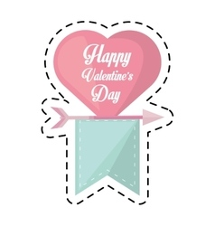 Happy valentines day card heart hanging ribbon cut vector