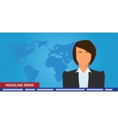 Headline or breaking news woman tv reporter vector