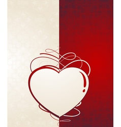 Heart silhouetteVintage valentine card vector image vector image