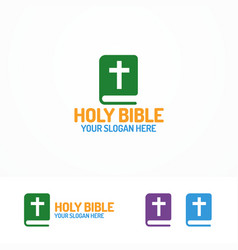holy bible book logo different color vector image