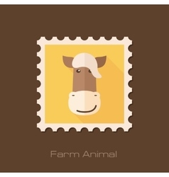 Horse flat stamp animal head vector