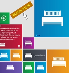 Hotel bed icon sign Metro style buttons Modern vector image vector image