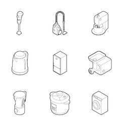 Kitchen appliances icons set outline style vector
