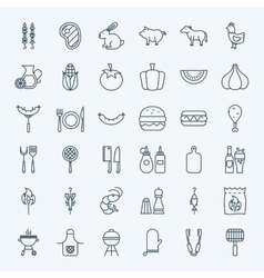 Line barbecue party icons vector