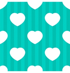 Mint stripes and white hearts seamless pattern vector