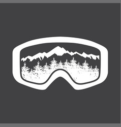mountains in reflection of ski mask lens vector image