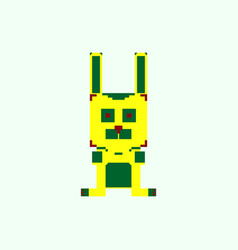 Pixelated bunny 8 bit pixel art - isolated vector