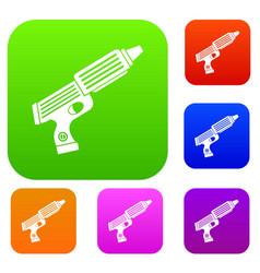 Plastic gun toy set color collection vector