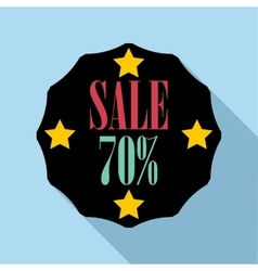Sale sticker 70 percent off icon flat style vector