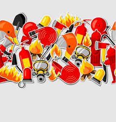 seamless pattern with firefighting stickers fire vector image vector image