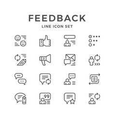 Set line icons of feedback vector