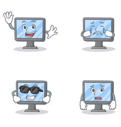 Set of monitor character with happiness crying vector