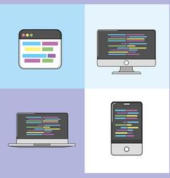 set software code data pragramming vector image