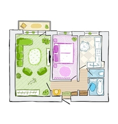 Sketch of design interior apartment hand drawn vector image