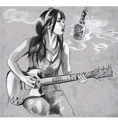 Smoking guitar player an hand drawn vector