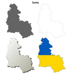 Sumy blank outline map set vector
