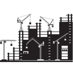 Tower cranes on construction site vector