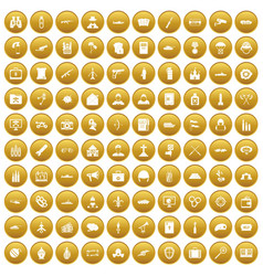 100 military icons set gold vector