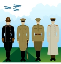 Uniforms military pilot tsarist russia vector