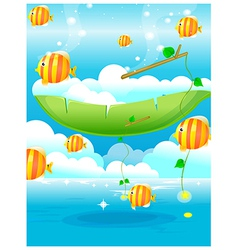 Fish water blue sky vector